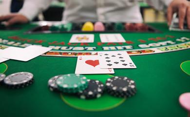 Casino: Player Is Dealt A Twenty One At Blackjack