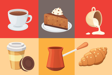 Coffee set and sweet desserts isolated vector illustration. Different drink types including espresso, macchiato, chocolate.