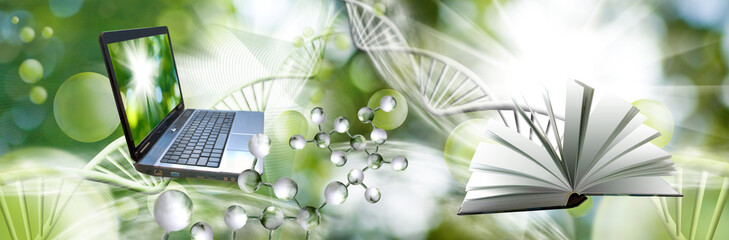 Image of molecular structure and chain of dna on a green background closeup