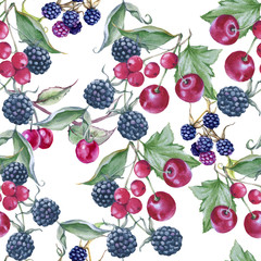 Background of blackberries, cherries and currants. Seamless pattern.