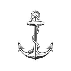 Retro style anchor on white background on white background. Design element for logo, label, emblem, sign. Vector illustration