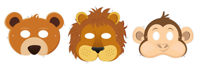 Obraz Carnival masks - bear, lion, monkey - fototapety do salonu