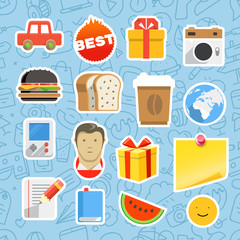 Different mobile or web application stickers vector set