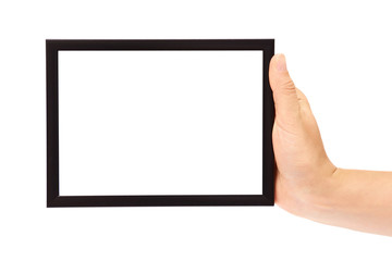 Decorative black photo frame in hand isolated on white background
