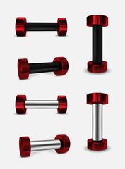 Red vector metal dumbbells