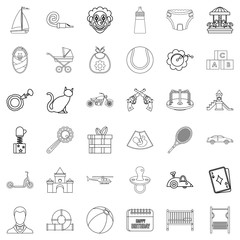 Little child icons set, outline style