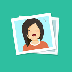 Photo frame with smiling happy girl flat cartoon style vector illustration
