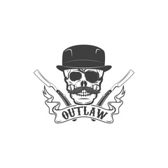 Gangster skull emblem on white background.  Vector illustration