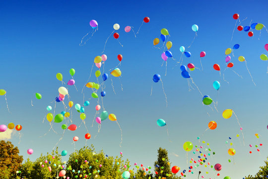 Air multicolored balloons flying to bright blue sky