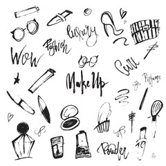 Vector makeup pattern with doodle items and lettering in grunge free style with lipstick, perfume and nail polish