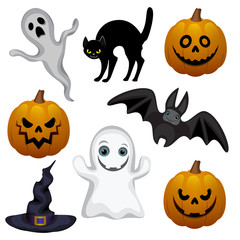 Set of vector illustrations, Characters for Halloween
