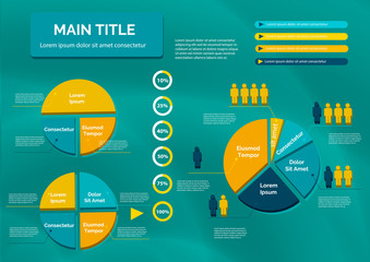 Diagrams in the form of a circle with figures of people. Presentation template with elements for reports, web design, presentations