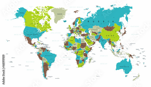 World map political blue green gray vector stock image and royalty world map political blue green gray vector gumiabroncs Gallery
