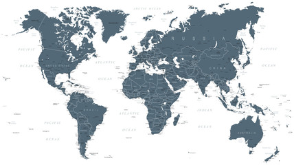 World Map Political Grayscale Vector