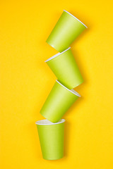 Set of green paper cups