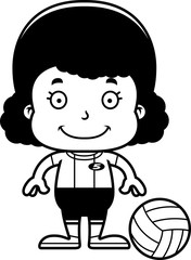 Cartoon Smiling Volleyball Player Girl