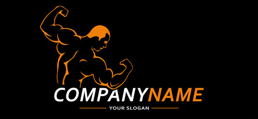 Fitness Gym Sport Man. Vector Logo. Vector illustration.