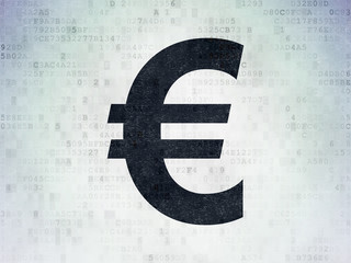 Currency concept: Euro on Digital Data Paper background