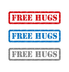 Free hugs set rubber stamp isolated on background