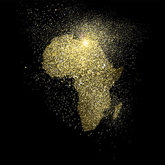 Africa gold glitter concept symbol illustration
