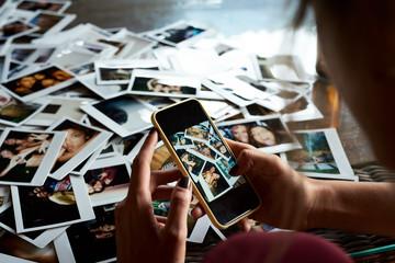 Taking smartphone snapshot of  photos.