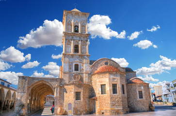 The fromt of the Church of Saint Lazarus, a late-9th century church in Larnaca, Cyprus in HDR on a cloudy blue sky