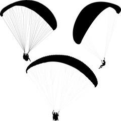 paragliding silhouettes collection - vector