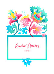 Vector square frame with exotic flowers.