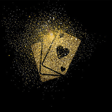 Playing card gold glitter art concept illustration