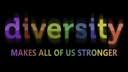 Rendering of a sign Diversity Makes All of Us Stronger in rainbow colors