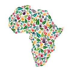 Africa hand print social environment help concept