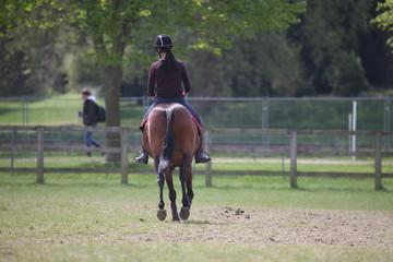 A girl in a jockey uniform riding a horse