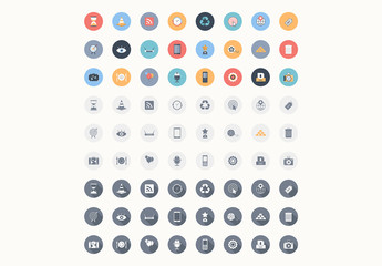 72 Round Color and Grayscale Icons 3