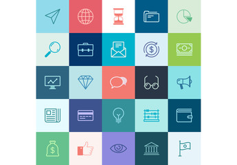 25 Multicolored Square Business and Tech Icons 1