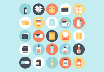 25 Round Product and Packaging Icons 1