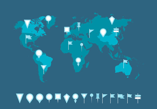 Blue World Map and Locator Pins 1