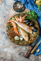 Image of fish, shrimp, clams