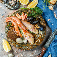 Seafood at table with lemon