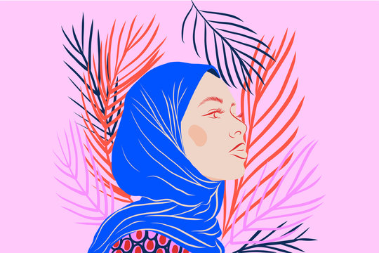 Woman wearing a headscarf on a pink and floral background