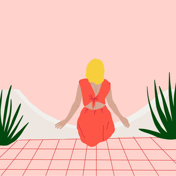 Woman Sitting with Plants