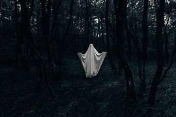 Halloween ghost in a dark forest
