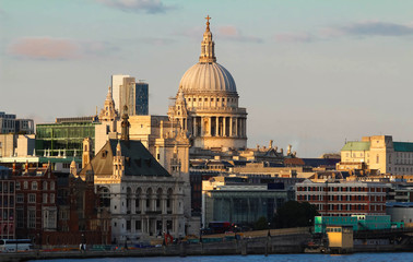 The view of Saint Paul's Cathedral at sunset, City of London.