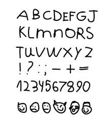Children's English alphabet. Figures. Smilies. Emoji. Hand draw. Vector illustration on isolated background.
