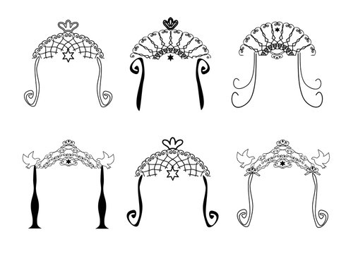 Set of vintage graphic Chuppah. Religious Jewish wedding canopy for. Vector illustration on isolated background