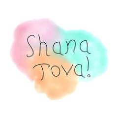The inscription Shana Tova Hebrew. Rosh a Shana. doodle. On the watercolor stain. Hand drawing. Lettering. Vector illustration on isolated background.