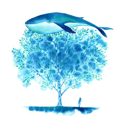 Big Blue Whale, tree and girl. Watercolor hand drawn illustration.Fantastic image.Underwater animal art.