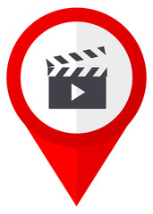 Video red web pointer icon. Webdesign button on white background.