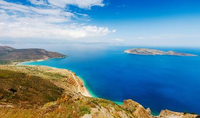 View of Mirabello Bay and Pseira Island, Sitia, Crete, Greece