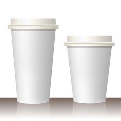 Plastic and carton white coffee or tee cup mock up. Vector template.