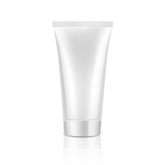 Mock up cosmetic white tube with white lid for cream. Beauty product package template, vector illustration.